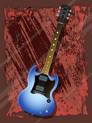 Red Digital Art - Rock Guitar by Lee Wolf Winter