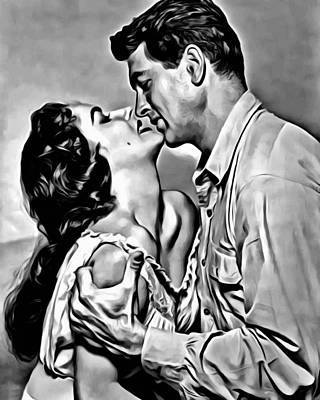 Hollywood Painting - Rock Hudson With Elizabeth Taylor by Florian Rodarte