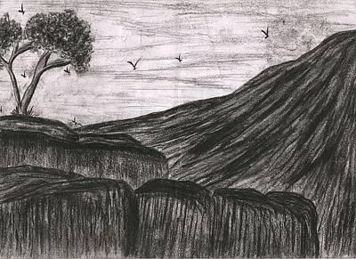 Syeda Ishrat Drawing - Rock In Still Life by Syeda Ishrat