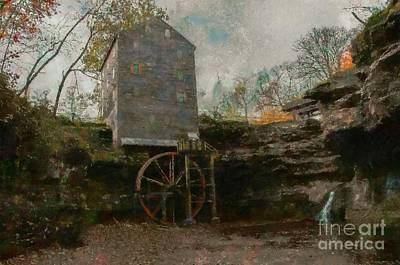 Painting - Rock Mill Falls Ohio by Scott B Bennett