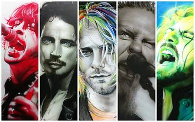 Pearl Jam Painting - Collage - ' Rock Montage I ' by Christian Chapman Art