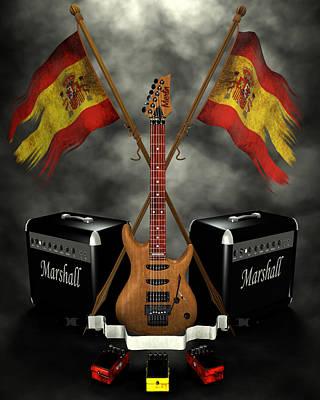 Digital Art - Rock N Roll Crest- Spain by Frederico Borges