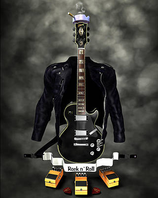 Rock N Roll Crest-the Guitarist Art Print by Frederico Borges