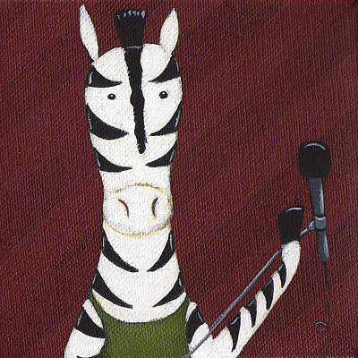 Music Paintings - Rock n Roll Zebra by Christy Beckwith