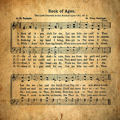 Christian Sacred Photograph - Rock Of Ages In Sacred Harp by David and Carol Kelly