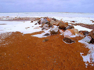 Rock Pile In Winter Wcae2pd  Art Print by Lyle Crump