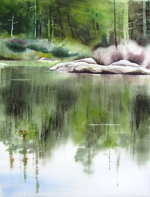 Maine Landscapes Painting - Rock Pond Maine 2 by Amanda Amend