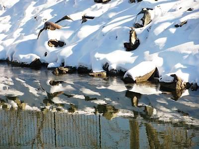 Photograph - Rock Snow Water by Steven Parker