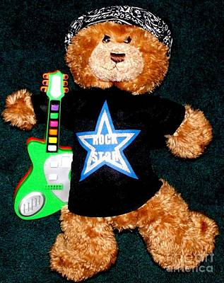 Rock Star Teddy Bear Art Print by Gail Matthews