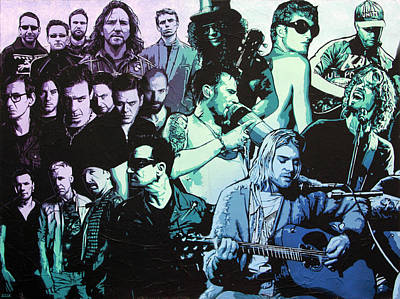 Eddie Vedder Painting - Rock Triptych - Panel A by Bobby Zeik