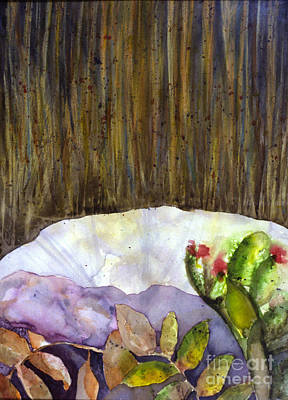 Painting - Rock W Plant by Patricia  Tierney