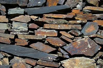 Print featuring the photograph Rock Wall Of Slate by Bill Gabbert