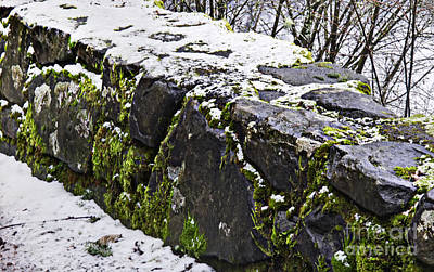 Photograph - Rock Wall With Moss And A Dusting Of Snow Art Prints by Valerie Garner