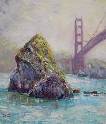 Painting - Rock With Golden Gate Bridge Ca by Sharon Casavant