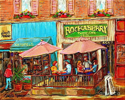 Streetscenes Painting - Rockaberry Pies Monkland Patisserie Paris Style Sidewalk Cafe Paintings Cityscene Art Cspandau  by Carole Spandau