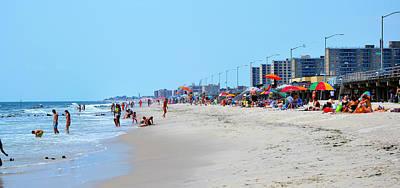 Rockaway Beach And Boardwalk Summer 2012 Art Print by Maureen E Ritter
