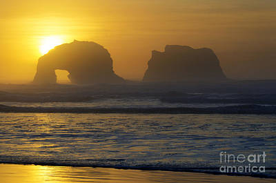 Photograph - Rockaway Beach Oregon Turning The Sky To Gold by Bob Christopher