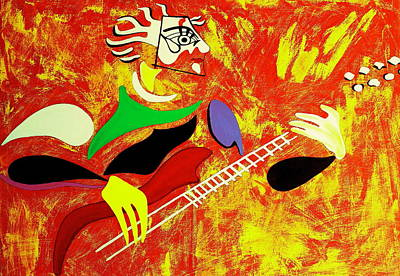 Guitare Painting - Rockcity by Pascalle Raymond