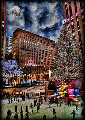 Photograph - Rockefeller Center By Moonlight by Lee Dos Santos
