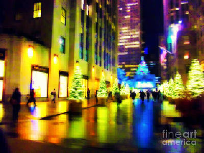 Photograph - Rockefeller Center Christmas Trees - Holiday And Christmas Card by Miriam Danar