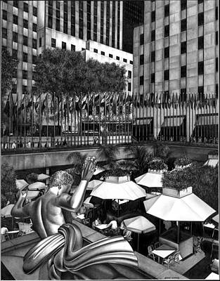 Cityscape.pencil Drawing - Rockefeller Center by Jerry Winick