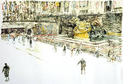 Printmaking Painting - Rockefeller Center Skaters by Anthony Butera
