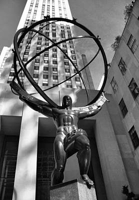 Rockefeller Plaza Photograph - Atlas In Black And White by Dan Sproul
