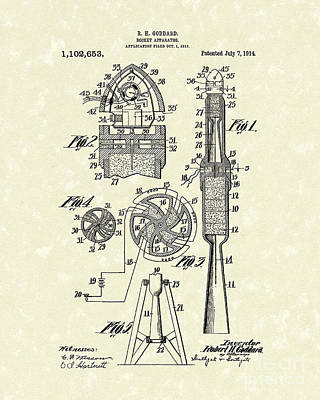 Rocket Drawing - Rocket 1914 Patent Art by Prior Art Design