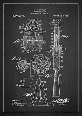 Spaceflight Digital Art - Rocket Apparatus Patent by Aged Pixel
