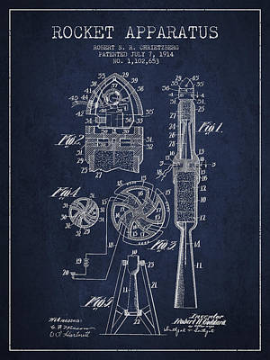 Spaceflight Digital Art - Rocket Apparatus Patent From 1914 by Aged Pixel