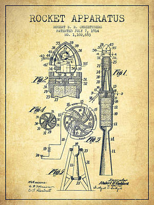Space Exploration Drawing - Rocket Apparatus Patent From 1914-vintage by Aged Pixel