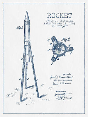 Space Exploration Digital Art - Rocket Patent Drawing From 1883 - Blue Ink by Aged Pixel