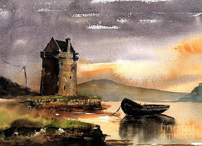 Painting - Rockfleet Castle In Mayo by Val Byrne