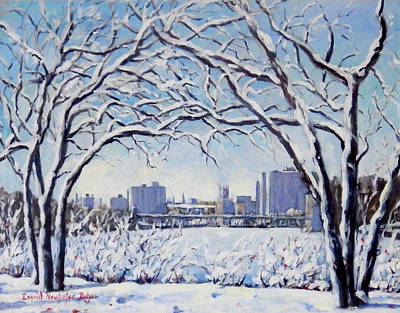 Painting - Rockford Il Winter Skyline by Ingrid Dohm