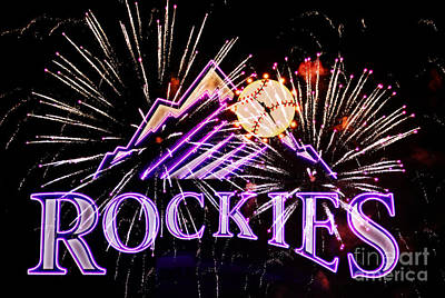Rockies And Fireworks Print by Bob Hislop