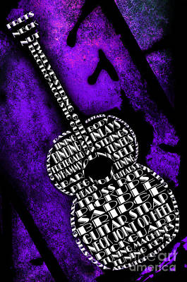 Digital Art - Rockin Guitar In Purple by Andee Design