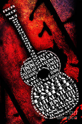 Rockin Guitar In Red Typography Art Print