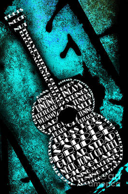 Straps Digital Art - Rockin Guitar In Teal by Andee Design