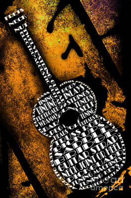Straps Digital Art - Rockin Guitar In Yellow by Andee Design