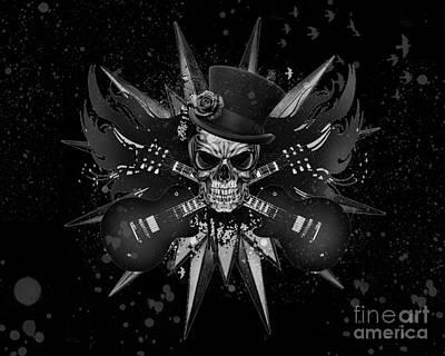 Digital Art - Rockin Skull Design by Suzi Nelson