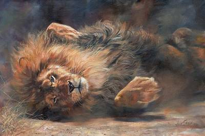 Lion Painting - Rocking And Rolling Part 2 by David Stribbling