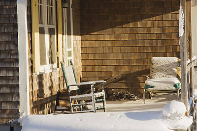 Rocking Chairs Photograph - Rocking Chair And Snow On Cottage Porch Winter by Keith Webber Jr