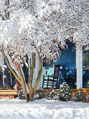 Photograph - Rocking Chair On Porch In Winter by Susan Savad