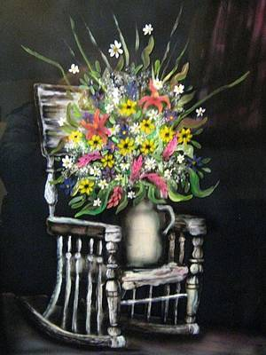 Painting - Rocking Chair With Flowers by Kendra Sorum