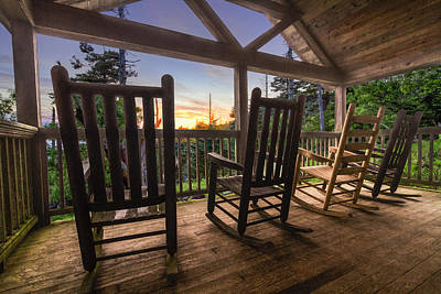 Rocking Chairs On The Porch Art Print by Debra and Dave Vanderlaan