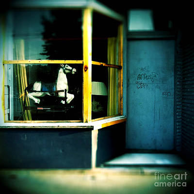 Rocking Horse In Window Print by Amy Cicconi