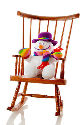 Art Print featuring the photograph Happy Snowman Sitting In A Rocking Chair  by Vizual Studio