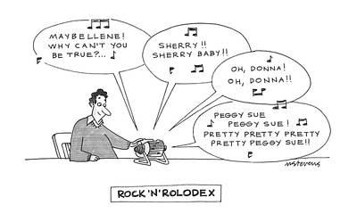 Rock N Roll Drawing - Rock'n Rolodex by Mick Stevens