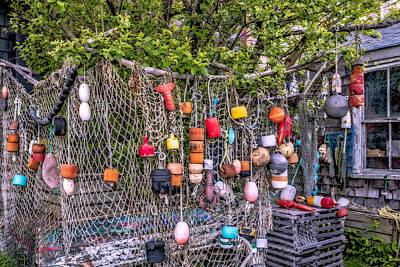Rockport Fishing Net And Buoys Art Print by Susan Candelario