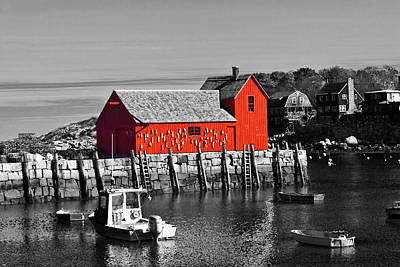 Photograph - Rockport Motif Number 1 - Bw by Lou Ford